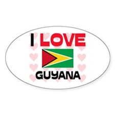 I Love Guyana Oval Decal