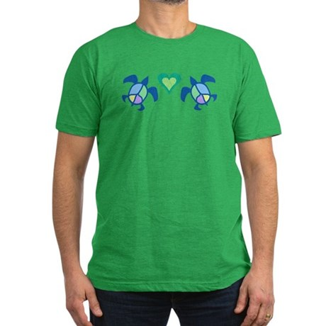 Peace Heart Sea Turtles Men's Fitted T-Shirt (dark