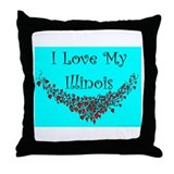 I Love My Illinois Throw Pillow