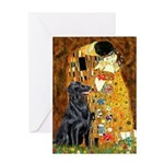 Kiss / Flat Coated Retriever Greeting Card