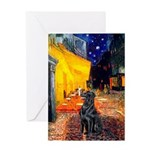 Cafe / Flat Coated Retriever Greeting Card