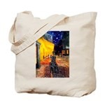 Cafe / Flat Coated Retriever Tote Bag