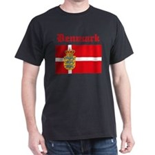 Danish Flag Black T-Shirt