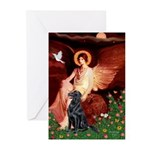 Angel / Flat Coated Retriever Greeting Cards (Pk o
