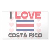 I Love Costa Rico Rectangle Decal