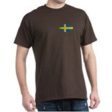 Oval Swedish flag Black T-Shirt