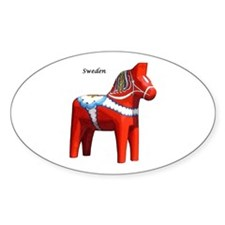 Dala Horse Oval Sticker (10 pk)
