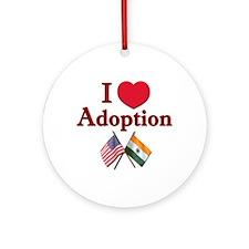 I Love Adoption (India/USA) Ornament (Round)