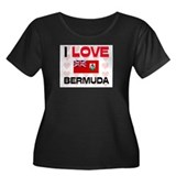 I Love Bermuda Women's Plus Size Scoop Neck Dark T