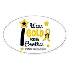 I Wear Gold 12 Brother CHILD CANCER Oval Decal