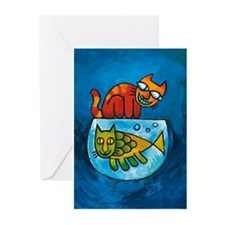 Funny Catfish cartoon Greeting Cards (Pk of 10)