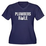 Plumbers Rule Women's Plus Size V-Neck Dark T-Shir