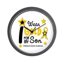 I Wear Gold 12 Son CHILD CANCER Wall Clock
