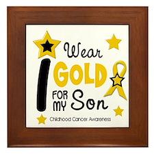 I Wear Gold 12 Son CHILD CANCER Framed Tile