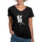 Rat (2) Women's V-Neck Dark T-Shirt