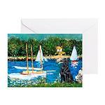 Sailboats / Flat Coated Retri Greeting Cards (Pk o