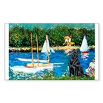 Sailboats / Flat Coated Retri Sticker (Rectangle)