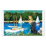 Sailboats / Flat Coated Retri Sticker (Rectangle 1