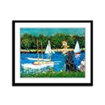 Sailboats / Flat Coated Retri Framed Panel Print