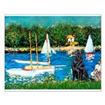 Sailboats / Flat Coated Retri Small Poster