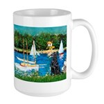 Sailboats / Flat Coated Retri Large Mug