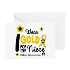 I Wear Gold 12 Niece CHILD CANCER Greeting Cards (