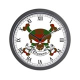Erskine Tartan Skull Wall Clock