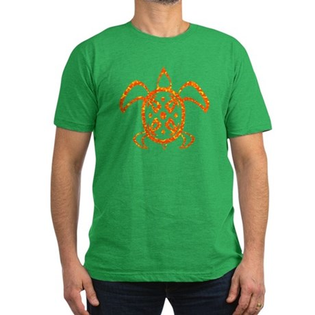 Orange Sea Turtle Men's Fitted T-Shirt (dark)