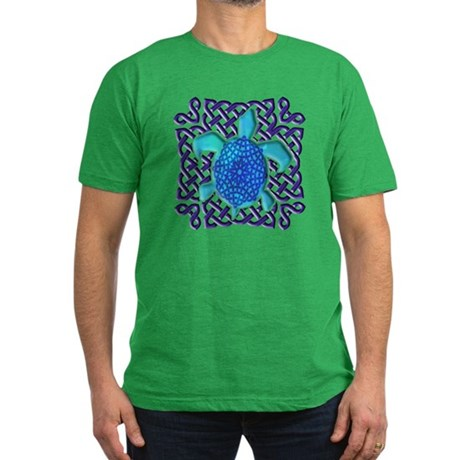Celtic Knot Turtle (Blue) Men's Fitted T-Shirt (da