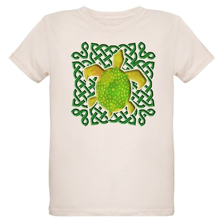 Celtic Knot Turtle (Green) Organic Kids T-Shirt