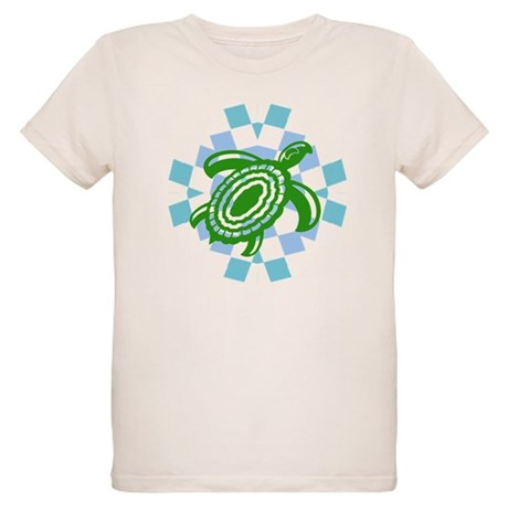 Green Cutout Turtle Organic Kids T-Shirt