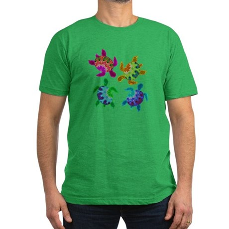 Multi Painted Turtles Men's Fitted T-Shirt (dark)