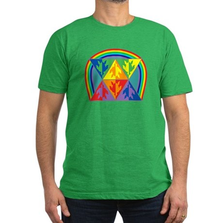 Turtle Triangle Rainbow Men's Fitted T-Shirt (dark
