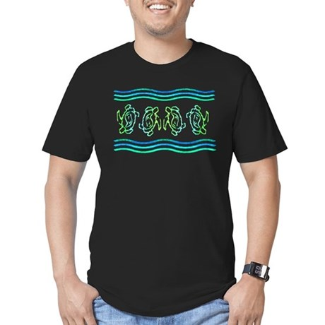Turtles in Waves Men's Fitted T-Shirt (dark)