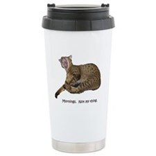 Cat Yawning - Mornings Travel Mug
