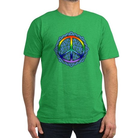 Celtic Knot Peace Symbol Men's Fitted T-Shirt (dar
