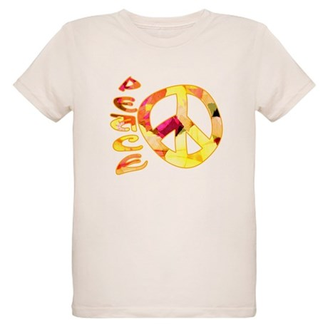 Flowery Orange Peace Organic Kids T-Shirt