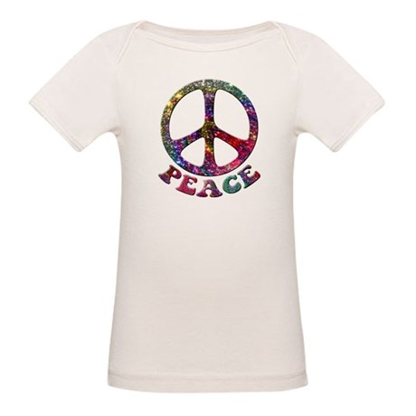 Jewelled Peace Symbol Organic Baby T-Shirt