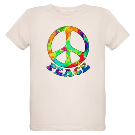 Rainbow Pool Peace Symbol Organic Kids T-Shirt