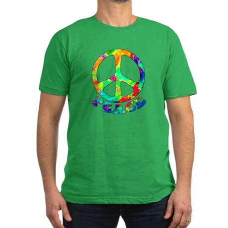 Rainbow Pool Peace Symbol Men's Fitted T-Shirt (da
