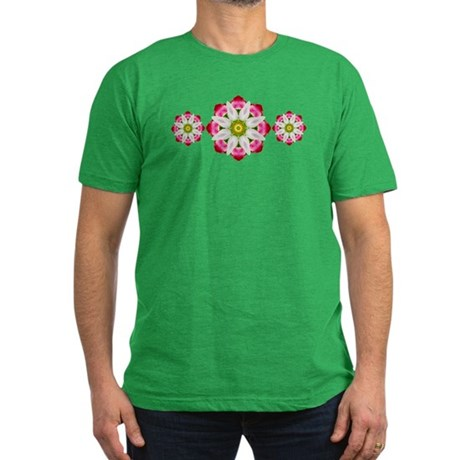 White Flower Men's Fitted T-Shirt (dark)