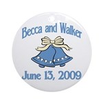 Personalized Wedding Tile Fav Ornament (Round)