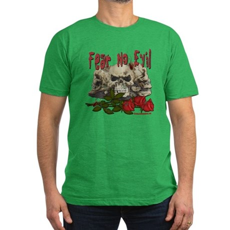 Fear No Evil Skull and Rose Men's Fitted T-Shirt (