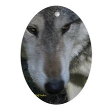 Wolf Portrait Oval Ornament