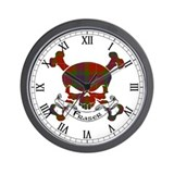 Fraser Tartan Skull Wall Clock