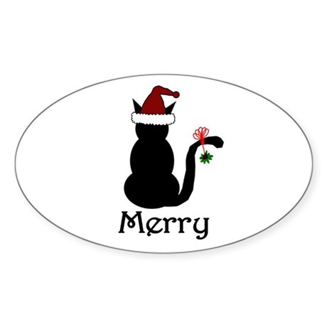 Merry Christmas Cat Oval Sticker