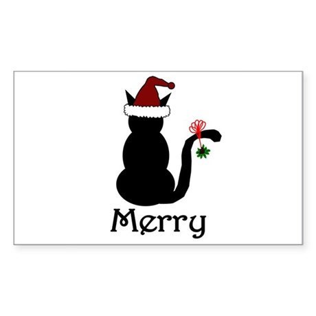 Merry Christmas Cat Rectangle Sticker