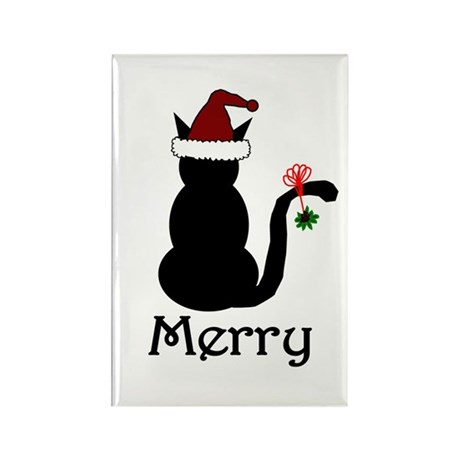 Merry Christmas Cat Rectangle Magnet (10 pack)