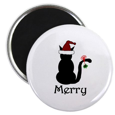"Merry Christmas Cat 2.25"" Magnet (10 pack)"