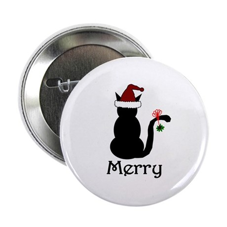 Merry Christmas Cat Button